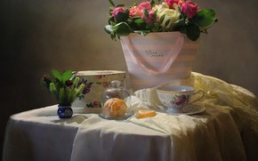 Picture flowers, table, box, gift, roses, slice, Cup, still life, fabric, Mandarin, Kovaleva Svetlana, Svetlana Kovaleva