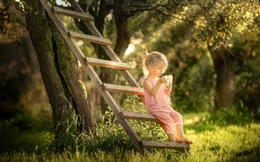 Picture summer, trees, nature, garden, ladder, girl, baby, child, bokeh, Radoslaw Dranikowski