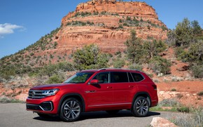 Picture red, mountain, Volkswagen, SUV, Atlas, 2020