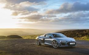 Picture sunset, Audi R8, V10, 2019