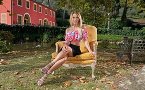 Picture Park, skirt, chair, blonde, legs, Cara Mell