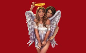 Picture background, girls, angel, halo