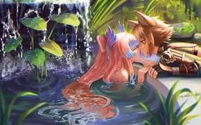 Picture nature, pond, kiss, guy, goddess, Genshin Impact, Gorou, Sangonomiya Kokomi