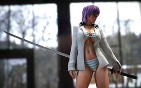 Picture swimsuit, chest, body, sword, katana, fighter, Dead or Alive, Team Ninja, doa, ayane, Koei Tecmo