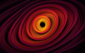 Picture space, orange, yellow, pink, black, spiral, black hole, black hole