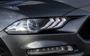 Picture Ford, headlight, the hood, convertible, bumper, 2018, dark gray, Mustang GT 5.0 Convertible