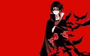 Picture Naruto, Naruto, red background, Uchiha Itachi