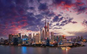 Picture river, China, building, home, panorama, China, Shanghai, Shanghai, skyscrapers, Huangpu River, The Huangpu River