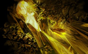 Picture leaves, girl, Golden light