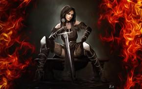 Wallpaper Girl, Figure, Fire, Sword, Art, Art, Illustration, Witcher, Yennefer, Game Art, madeinkipish, Yennefer fanart, by ...