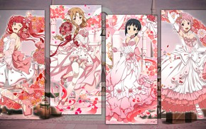 Picture girls, collage, characters, bouquets, Sword Art Online, wedding dresses
