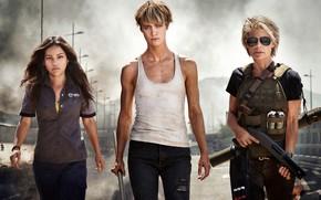 Picture fiction, frame, Terminator, Mackenzie Davis, Mackenzie Davis, Linda Hamilton, Terminator 6, Natalia Reyes, Natalia Reis, …