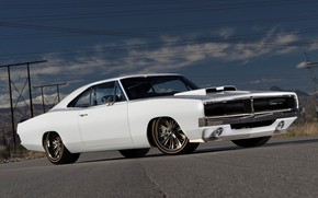 Picture Dodge, Front, Coupe, Charger, White, Dodge Charger, Muscle car, Vehicle
