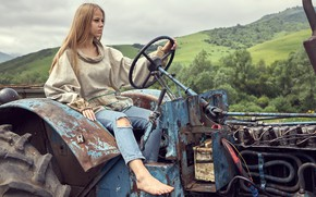 Picture girl, background, tractor