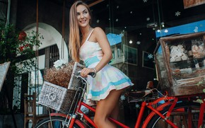 Picture girl, glass, bicycle, long hair, dress, legs, brown hair, photo, photographer, model, tattoo, lips, face, ...