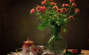 Picture table, background, roses, Cup, vase, still life, saucer, tray