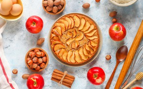 Picture apples, pie, nuts, cinnamon, cakes, apples, Charlotte, bake