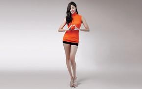 Picture smile, Asian, smile, asian, beautiful legs, light grey background, slim figure, slim figure, beautiful legs, …