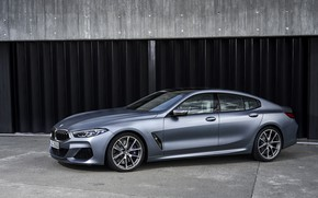 Picture coupe, BMW, Parking, Gran Coupe, 8-Series, 2019, the four-door coupe, Eight, G16, steel gray