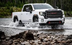 Picture white, water, river, pickup, GMC, Sierra, AT4, 2020, Sierra HD