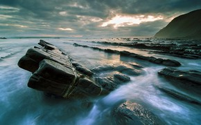 Picture Sunset, Sea, Stones