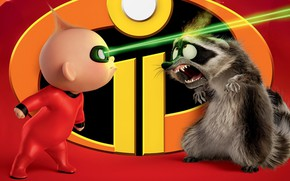 Picture baby, raccoon, The incredibles, The Incredibles 2, Jack Jack, the second part