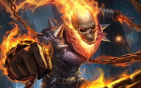 Picture Skull, Fire, Chain, Background, Ghost Rider, Ghost rider, Flame, Art, Ghost, Illustration, Characters, by Gary ...