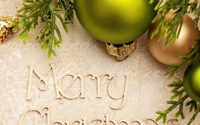 Picture background, holiday, the inscription, balls, toys, Christmas, New year, bokeh, Merry Christmas, pine branches