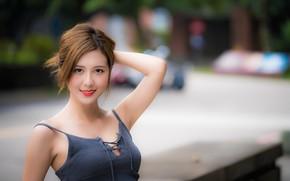 Picture girl, pose, smile, Asian, cutie, bokeh