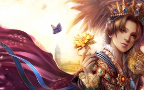 Picture butterfly, tower, crown, mantle, pearl, Prince, Palace, green eyes, blonde, Golden rose, gem
