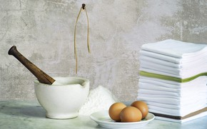 Picture eggs, stack, towels, nail, flour, mortar