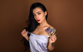 Picture look, pose, background, model, portrait, makeup, Mike, brunette, tattoo, hairstyle, beauty, Dmitry Medved, Aleksa Tereschuk
