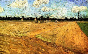Picture clouds, Vincent van Gogh, field for sowing, Ploughed Field