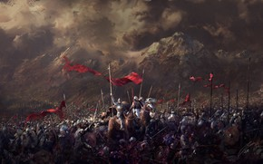 Picture mountains, warriors, Battlefield, army, banners