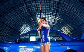 Picture look, Girls, Subaru, beautiful girl, blue auto, against the machine