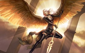 Picture girl, light, flight, pose, weapons, wings, angel, fantasy, art