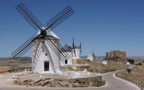 Picture road, windmills, Spain, wellnice