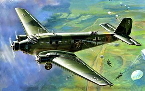 Picture military transport, Junkers, skydivers, a passenger plane, German, Luftwaffe, Ju 52, Auntie Yu