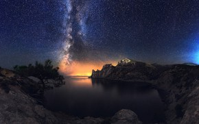 Picture sea, landscape, mountains, night, nature, tree, rocks, Bay, stars, the milky way, Crimea, pine, New …