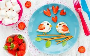 Picture berries, Breakfast, strawberry, breakfast, marshmallows, sandwiches, Valentines Day, Marshmallow