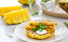 Picture plate, pineapple, dessert, fried