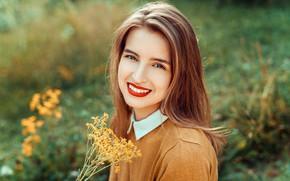 Wallpaper girl, smile, hair, Emilie, Lods Franck