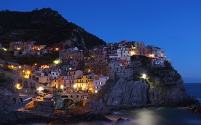 Picture sea, rock, coast, mountain, home, the evening, lighting, Italy, the village, Manarola, Manarola, Cinque Terre, …