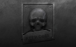 Picture metal, wall, danger, plate, skull, roughness, keep out