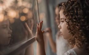 Picture reflection, window, curls, Girls, photographer Alexander Pimenov