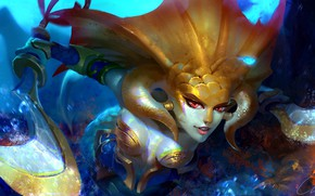 Picture fantasy, game, cleavage, underwater, weapon, boobs, saber, red eyes, digital art, breasts, Dota 2, artwork, …