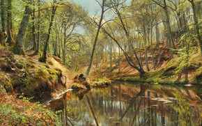 Picture 1897, Danish painter, Peter Merk Of Menstad, Peder Mørk Mønsted, Danish realist painter, Spring day …