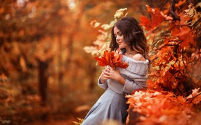 Picture autumn, look, leaves, girl, nature, pose, Park, mood, bokeh, Xenia, Sergey Shatskov