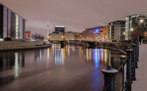 Picture river, the evening, Germany, tower, Berlin