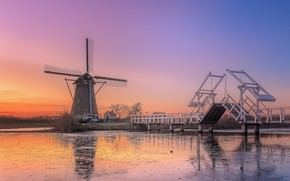 Picture bridge, river, mill